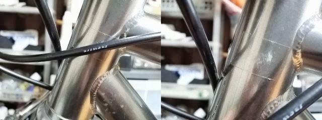 ストームガードクリヤーを自転車フレームに貼って塗装面を保護しています。