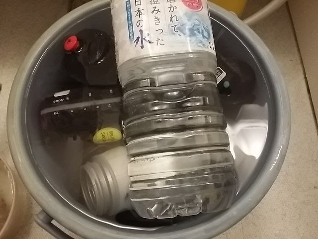 水の入ったバケツにドリンクボトルを入れて上から2リットルのペットボトルで重しをしている。