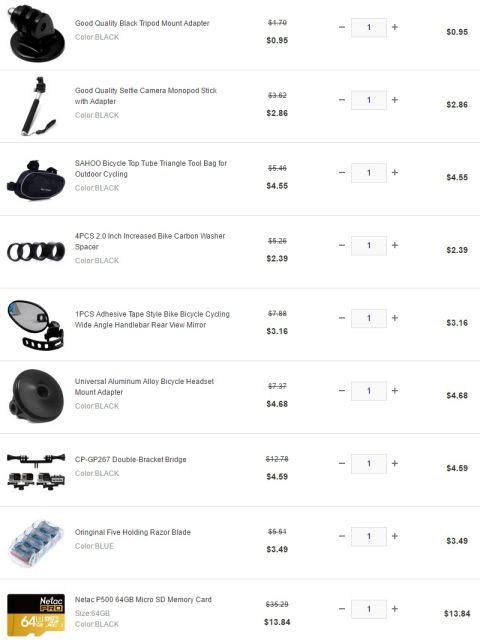 GearBestで購入した商品リスト
