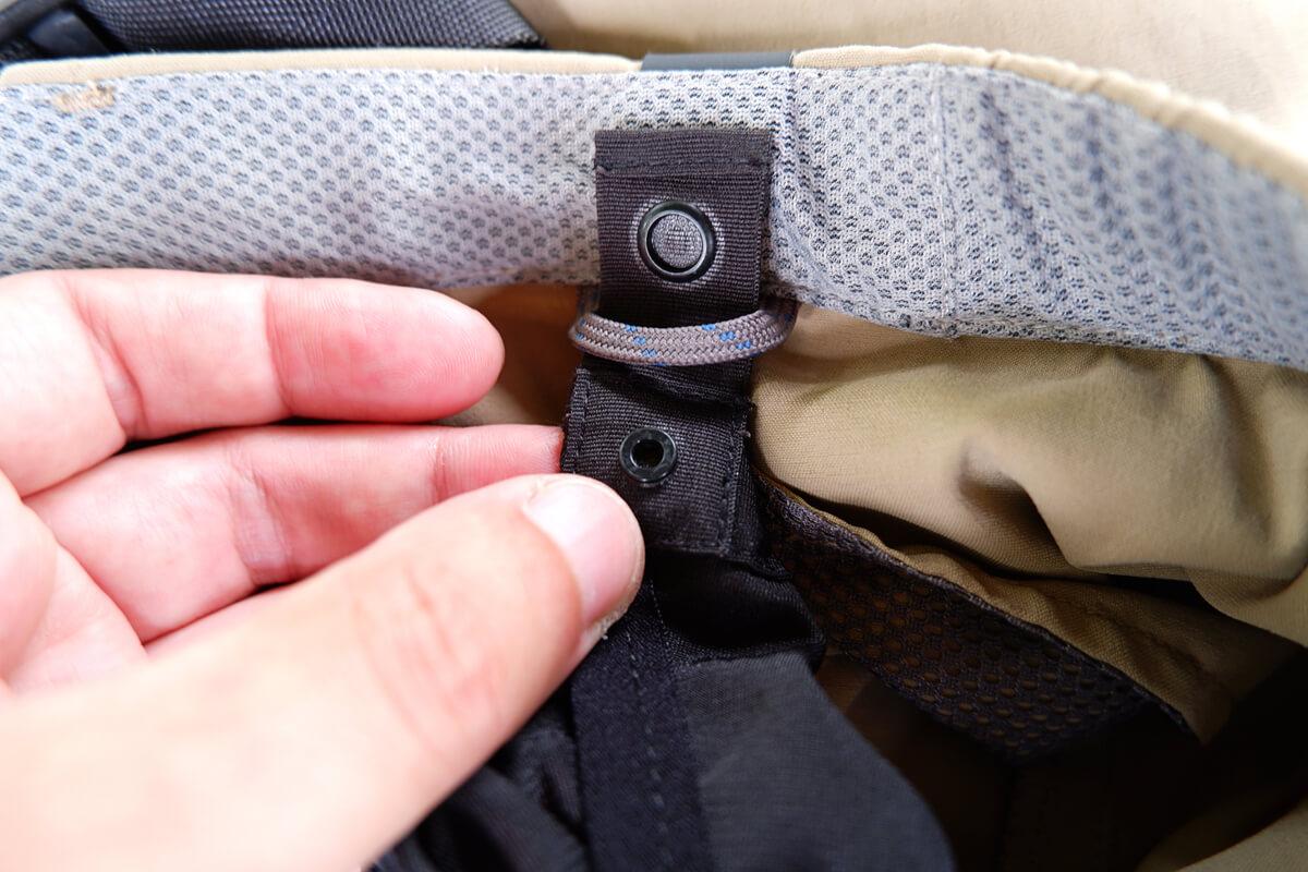 モンベル サイクルツーリングニッカ パッドを取り付けるボタン