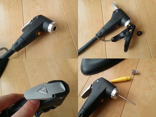 トピークのJoeBlow Sport Ⅱのポンプヘッドが4種類写っています。
