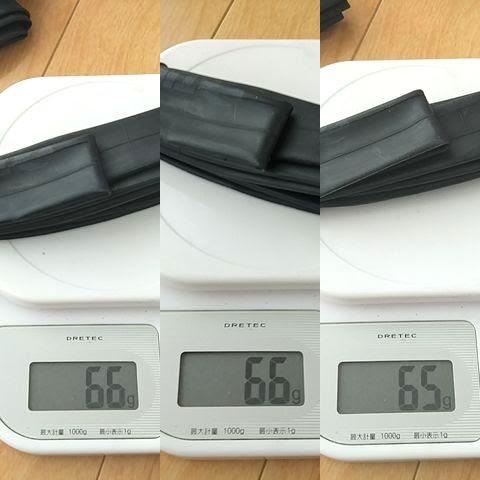 TIOGA(タイオガ)ウルトラライトチューブの重量をキッチンスケールで計測、結果は以下
