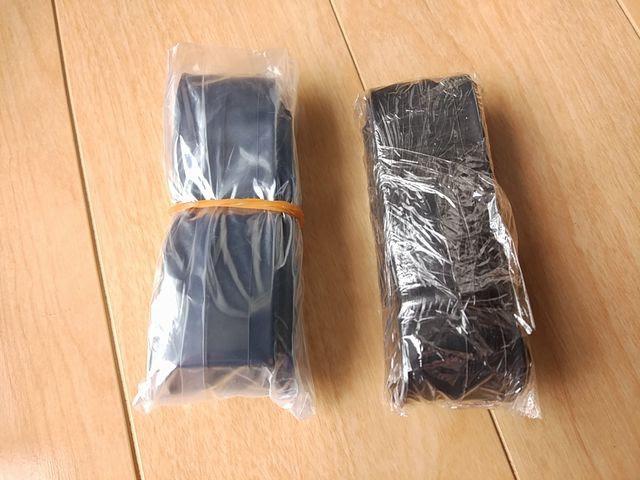 自転車のチューブをラップとビニール袋で巻いた時の比較