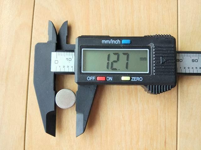 ダイソーネオジウム磁石のサイズをノギスで計測、詳細は以下