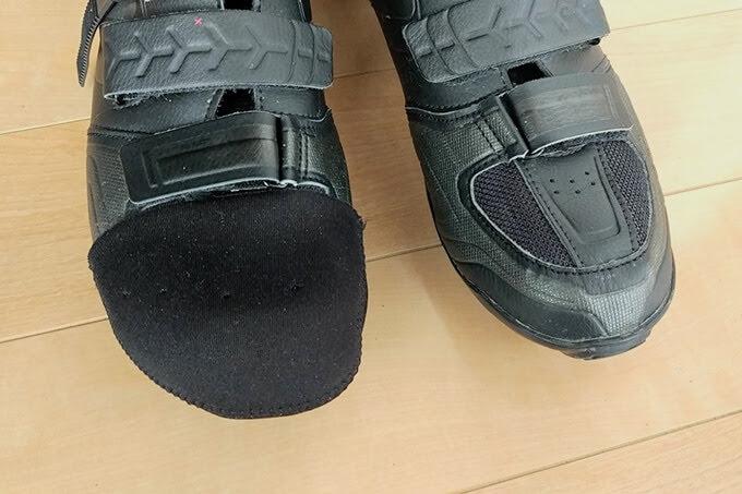 ワークマンのトゥキャップをサイクリングシューズの靴先に装着