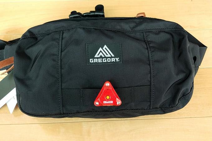 グレゴリーのウエストバッグ、ハードテールに自転車用リアライトを取り付ける