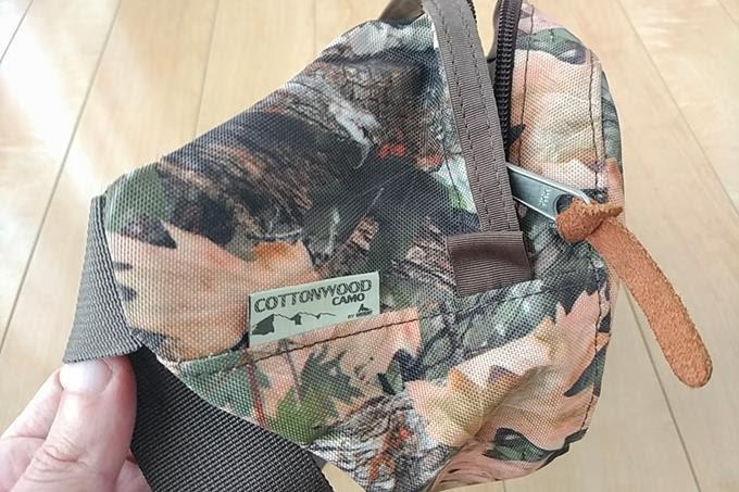 グレゴリーのウエストバッグ、ハードテール素材のアップ、コットンウッドカモ