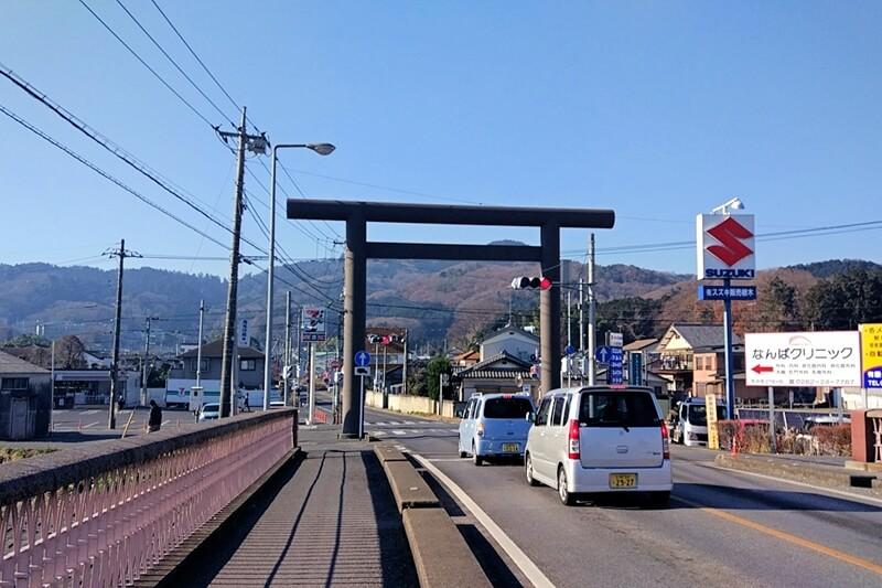 栃木市 太平山の手前にある大きな鳥居