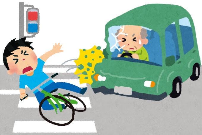 自転車で交通事故のイラスト