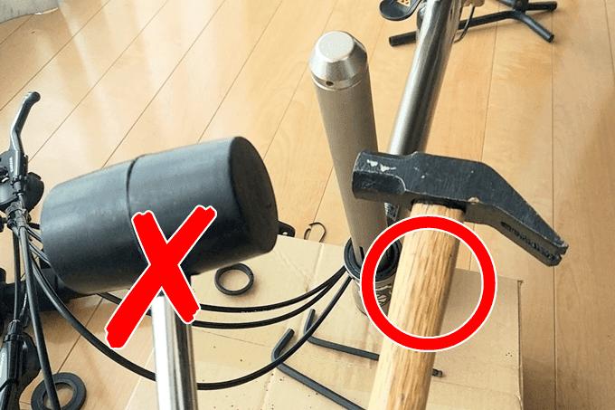 ヘッドワンリムーバーに使うハンマーはゴムハンマーと鉄製ハンマーのどちら?