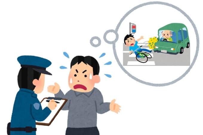 警察に事故の状況を話しているイラスト