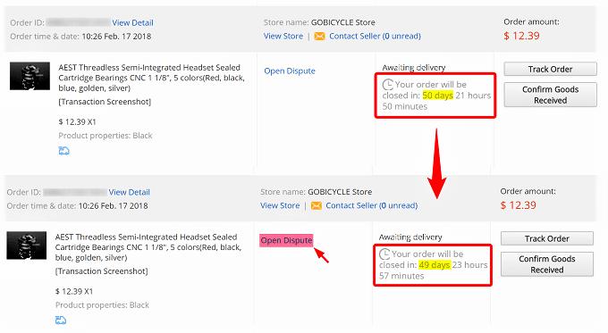 Aliexpress、open disputeは発送から10日後に可能