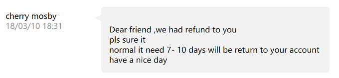 Aliexpress、返金のメッセージ