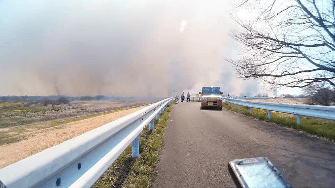 渡良瀬遊水地、ヨシ焼きの煙