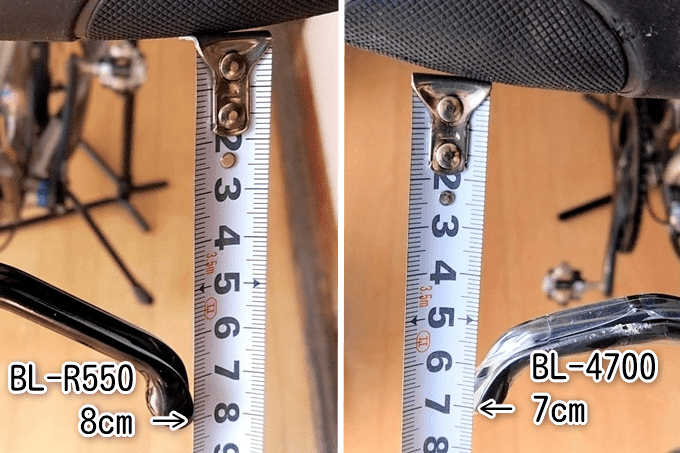 BL-R550とBL-4700の最大開口部をメジャーで計測、詳細は以下