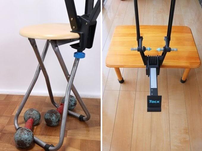 振取台 Tacx T3175を椅子と低いテーブルに固定している