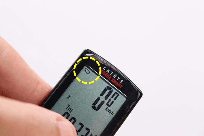 キャットアイ サイコン、ストラーダスマート(CC-RD500B)のバッテリーマークが点灯