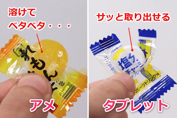 飴と塩タブレットを比較
