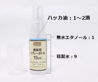 携帯用スプレーボトル15ml、ハッカ油、制汗スプレーの作り方