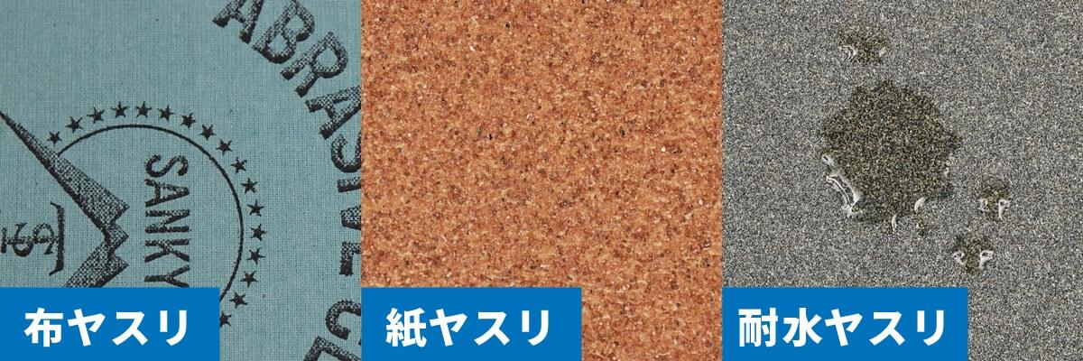 紙やすりの種類、布やすり、紙やすり、耐水やすり