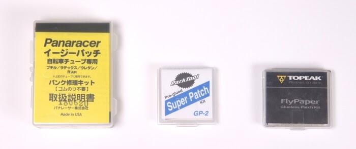 パナレーサー、パークツール、トピークの簡易パンク修理パッチのケースサイズ、詳細は以下