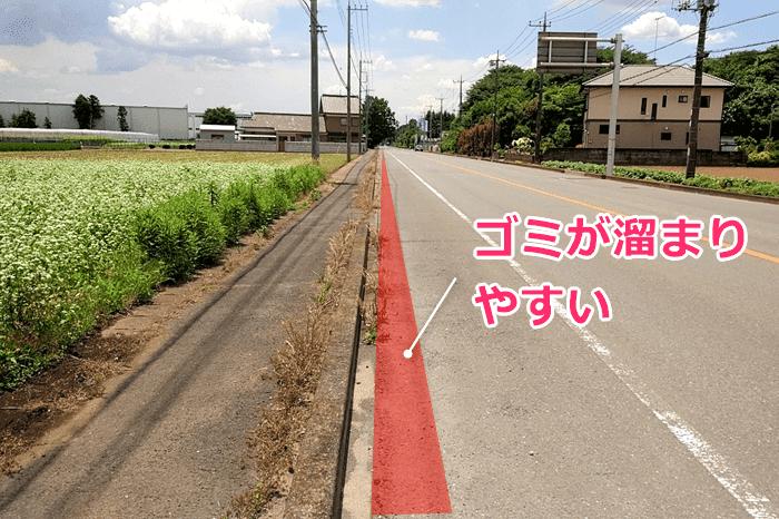 自転車の走行時、パンクしないよう路面に気を配る