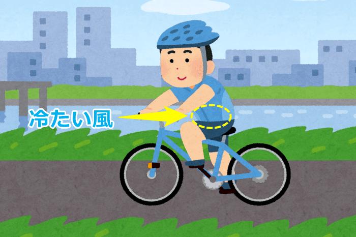 冬のサイクリング中、お腹に冷たい風が当たる