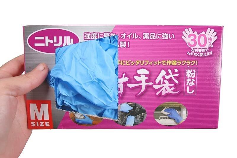 ニトリルゴム製 極薄手袋のパッケージ