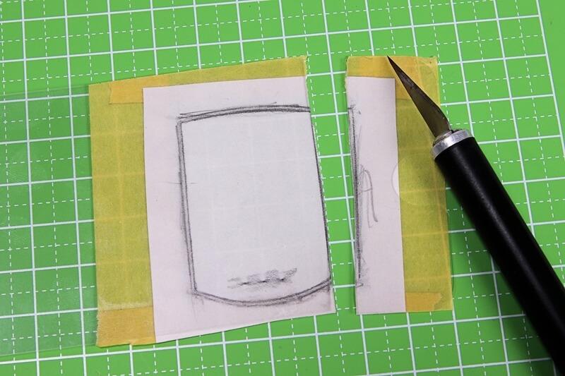 キャットアイ サイコン画面に貼る保護フィルムをデザインナイフでカット