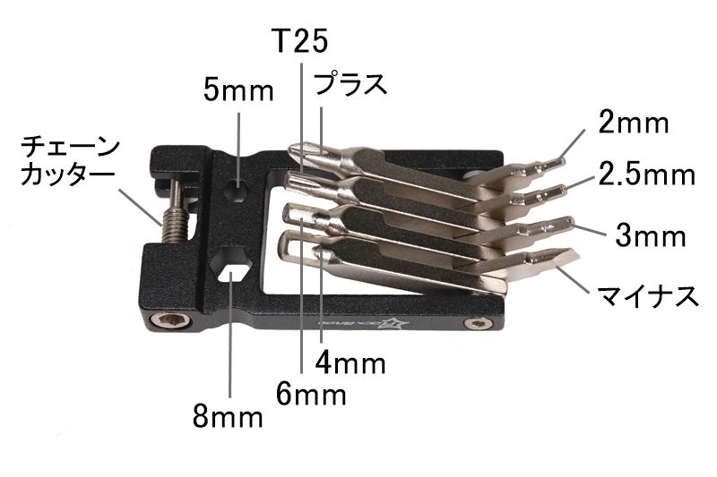 ROCKBROS 携帯マルチツールの機能 本体側