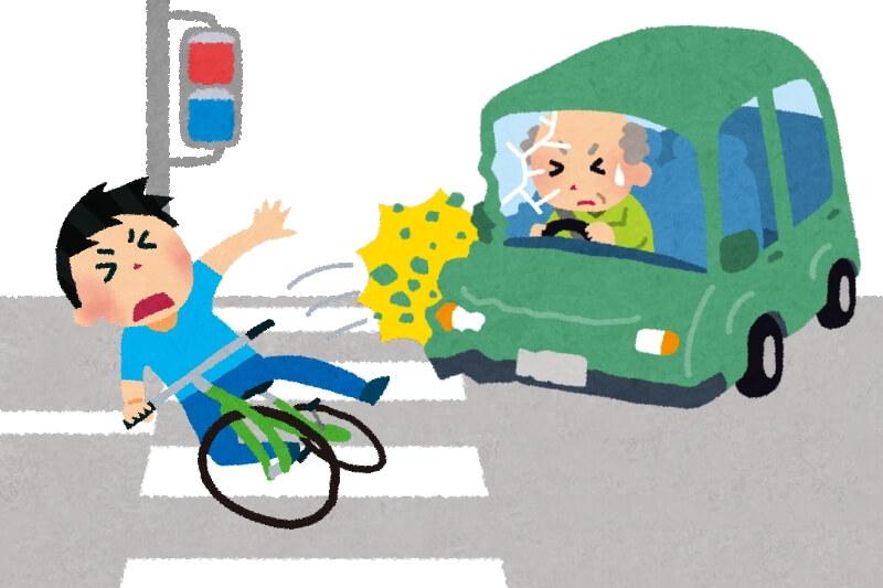 横断歩道で自転車が車に衝突されるイラスト