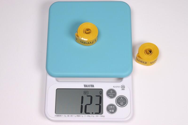 タイオガ ナイロンリムテープ1個の実測重量、詳細は以下