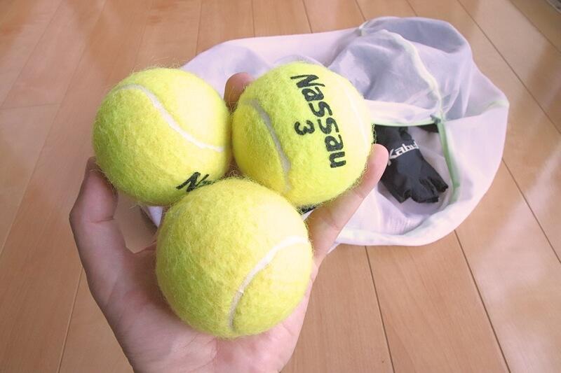 テニスボールと洗濯ネット