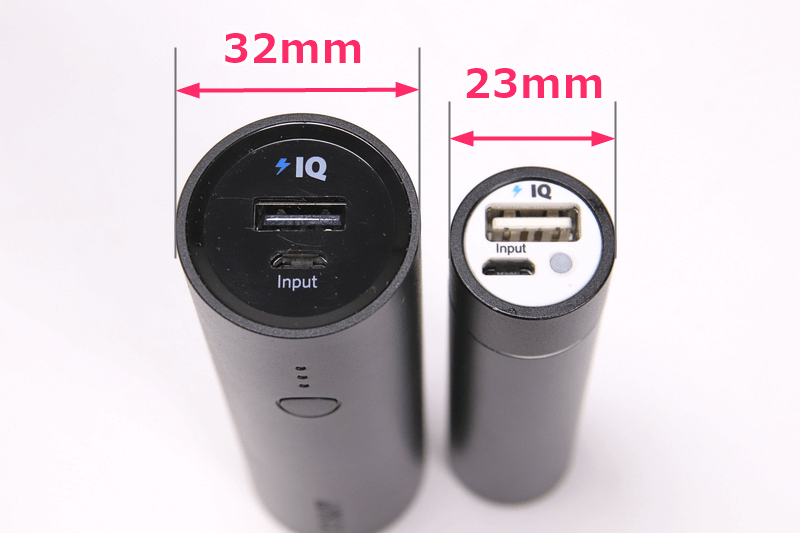 Ankerのモバイルバッテリー3350mAhと5000mAhの厚みを比較