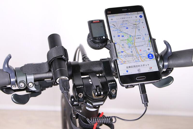 Ankerのモバイルバッテリーを自転車のハンドルに固定
