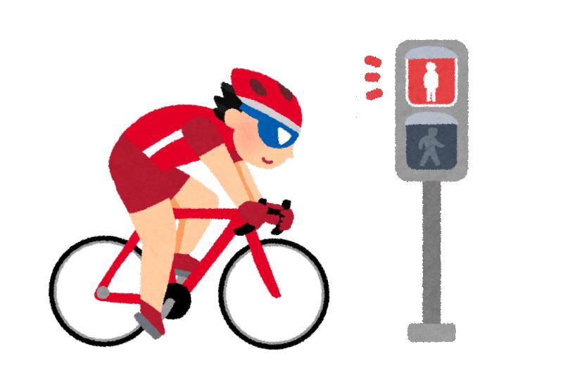 信号無視するロードバイクのイラスト