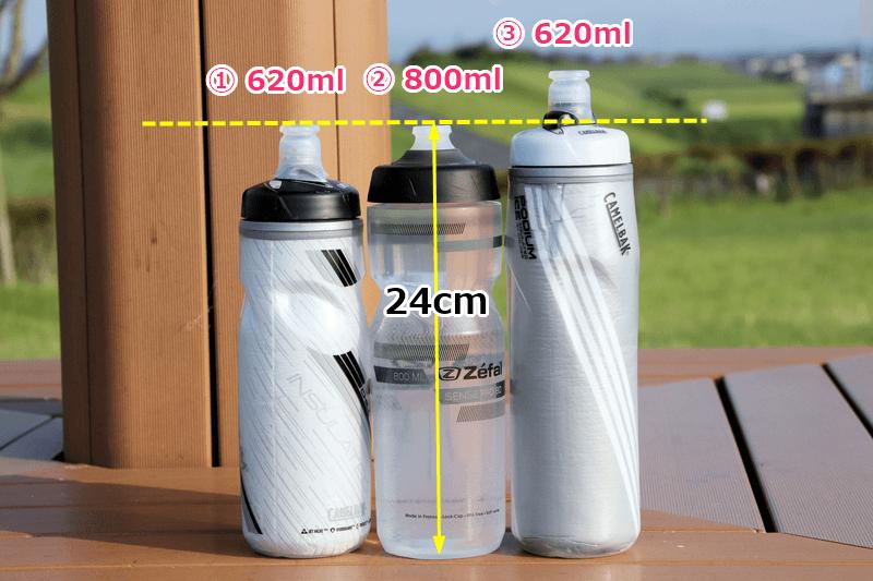 ゼファール sense pro 80とキャメルバックのボトルを比較