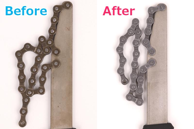 スプロケット取り外し工具のサビ取り前と後を比較