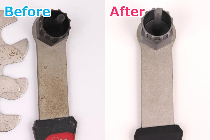 スプロケット工具のサビ取り前と後を比較