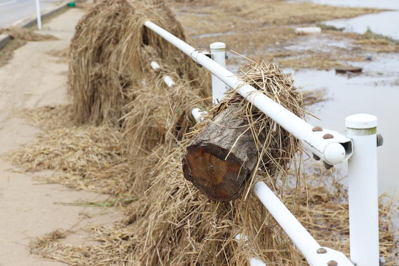 2019年10月14日 台風19号 栃木市大平町 ガードレールに挟まった丸太