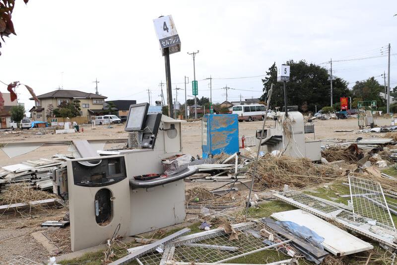 2019年10月14日 台風19号 栃木市大平町 壊れたセルフレジ