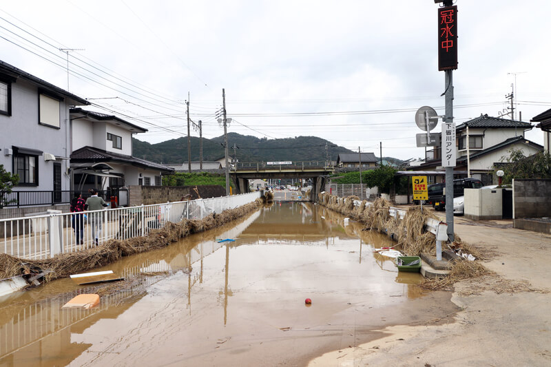 2019年10月14日 台風19号 栃木市大平町 冠水した道路