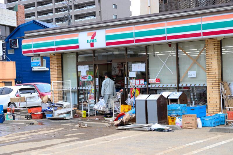 2019年10月14日 台風19号 栃木市のセブンイレブン