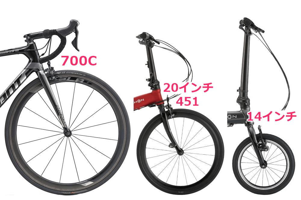 700C、20インチ451、14インチホイールを比較
