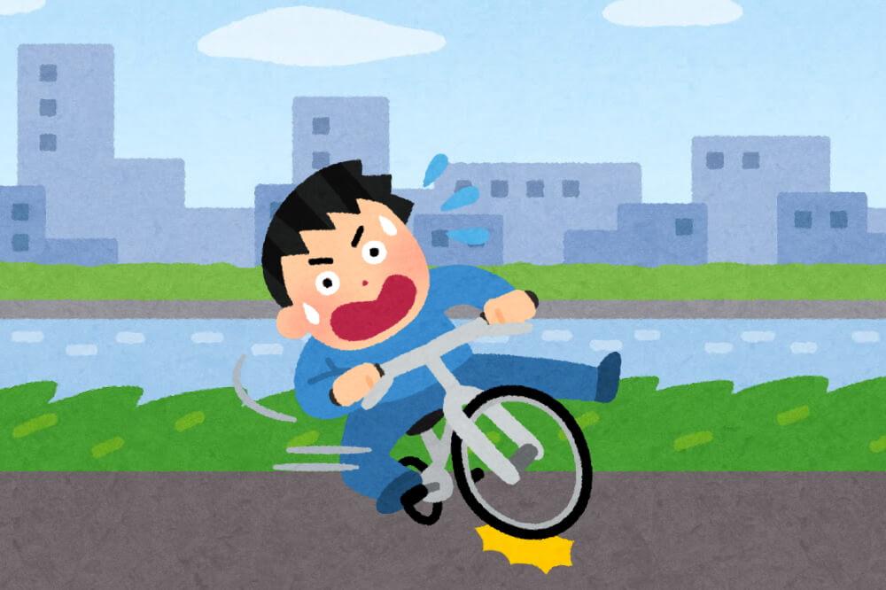 サイクリングロードで転倒した男性のイラスト