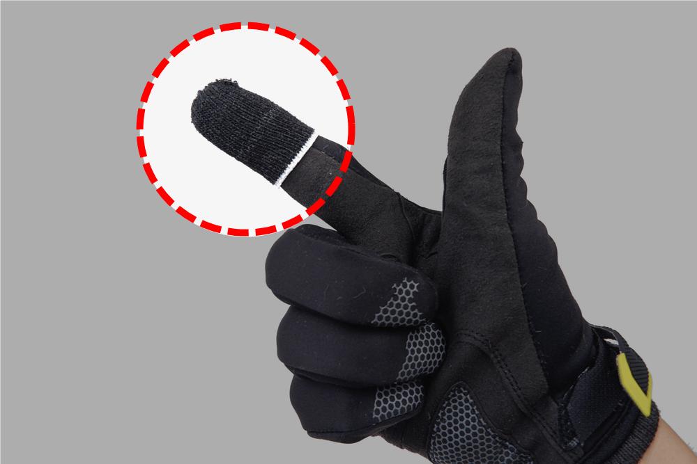 セリアのスマホ用指サックを手袋の上から装着