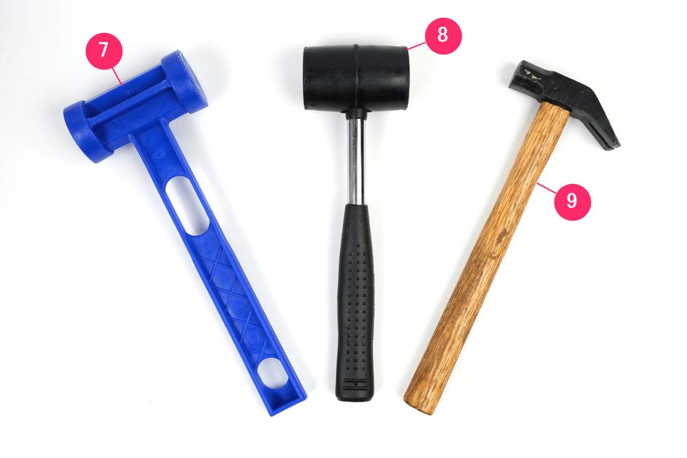 100均自転車工具、プラスチックハンマー、ゴムハンマー、金槌