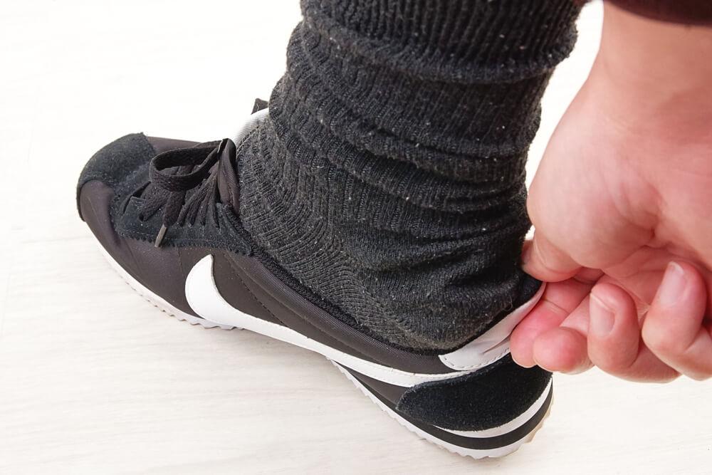 通常の靴下はかかとが余る