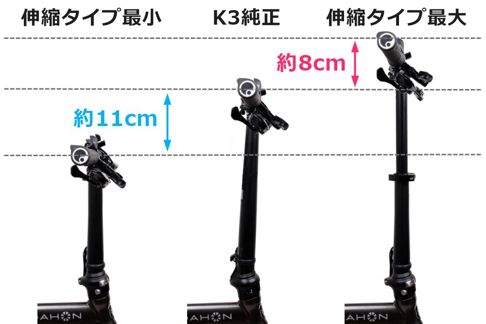 伸縮タイプ ハンドルポストの最小と最高位置