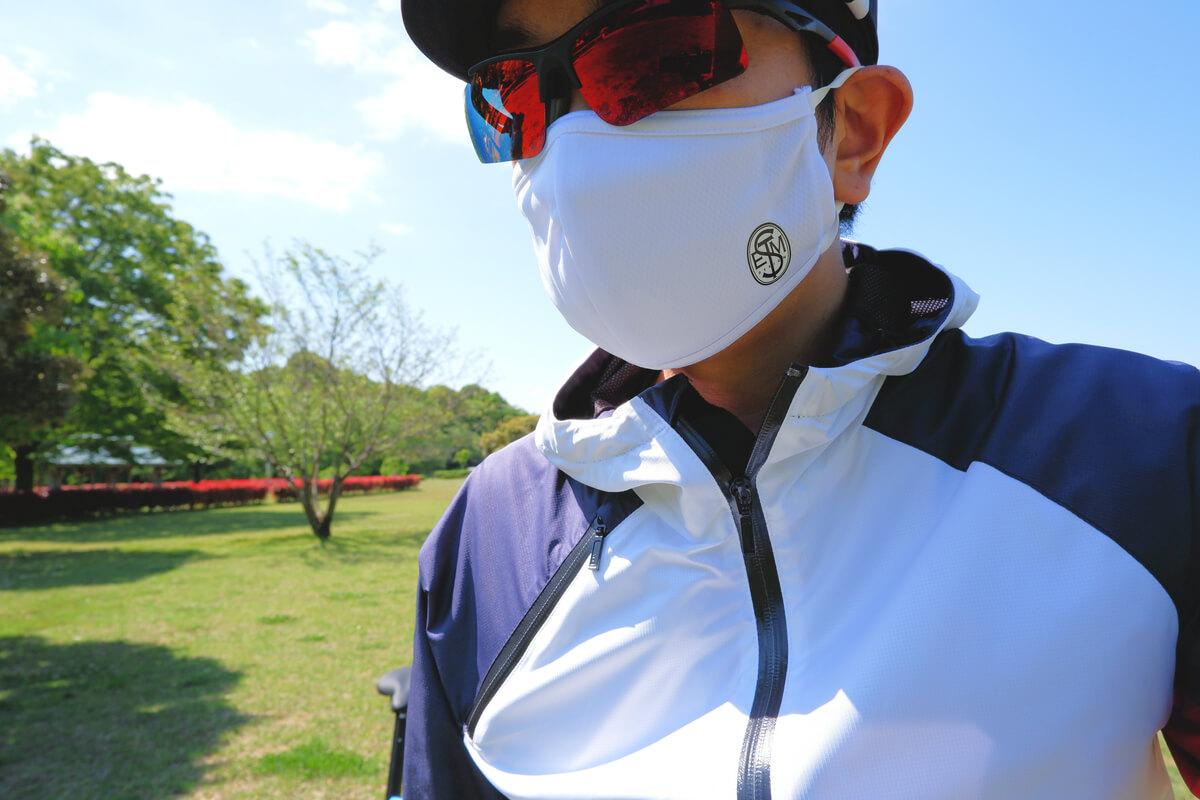 サイクルジャージで作ったマスクを着用